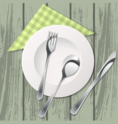 cutlery on table with tissue vector image