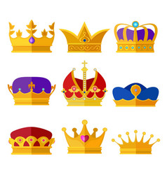 golden crowns of kings prince or queen vector image vector image