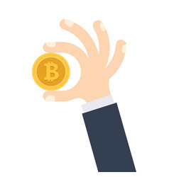 hand is holding golden bitcoin coin vector image