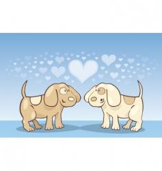 puppies in love vector image vector image