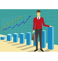 Successful businessman in front of growing diagram vector image