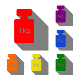 weight simple sign set of red orange yellow vector image