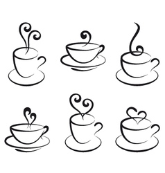 coffee and tea cups vector image