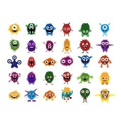 Cute monsters Big set of cartoon monsters vector image