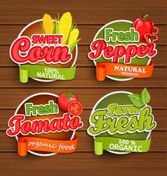 farm fresh food label vector image vector image