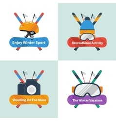 Four winter sport concept with text vector image vector image