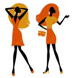 Retro girls silhouette vector image