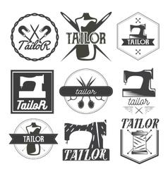 set of vintage sewing logo design elements vector image vector image