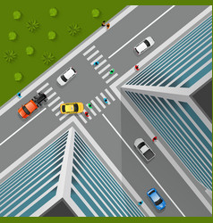 Top View On City Crossroad vector image