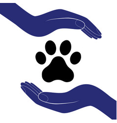 animal dog paw in people hand human help vector image