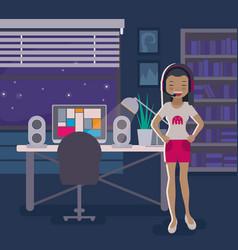 asian gamer girl vector image