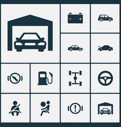 Automobile icons set with repair garage fuel and vector