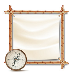 Bamboo frame with compass tropical summer vector