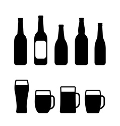 Beer bottle and mug set vector