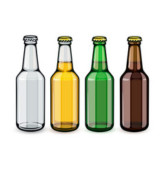 Beer bottles set of empty vector