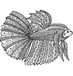 Betta fish hand drawn coloring page vector