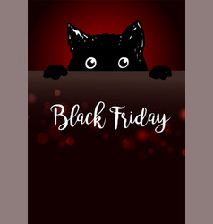 black friday poster with cute black cat vector image