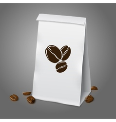 Blank white realistic paper packaging coffee bag vector image