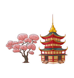 blooming sakura branch pagoda set vector image