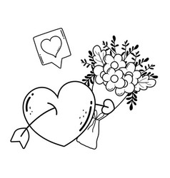 bouquet of flowers icon vector image