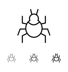 Bug nature virus indian bold and thin black line vector