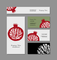 business cards design pomegranate background vector image