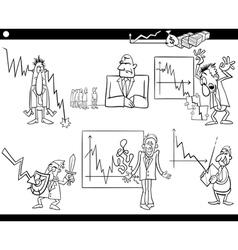 business cartoon crisis concepts set vector image vector image