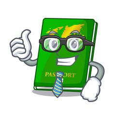 Businessman green passport in the cartoon shape vector