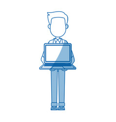 cartoon man standing holding laptop front view vector image