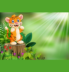Cartoon of tiger standing on tree stump with green vector