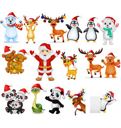 cartoon santa claus with many animals collection s vector image