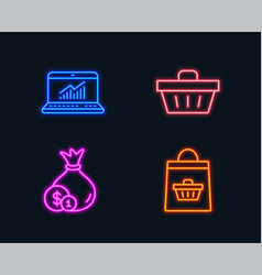 Cash online statistics and shopping basket icons vector