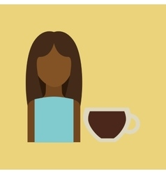 Character girl pot coffee icon graphic vector