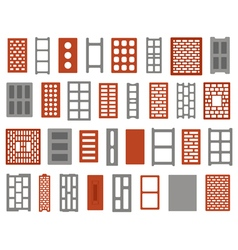 Clay and concrete bricks vector