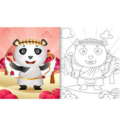 Coloring book for kids with a cute panda angel vector