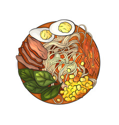 coloring cartoon of ramen i vector image