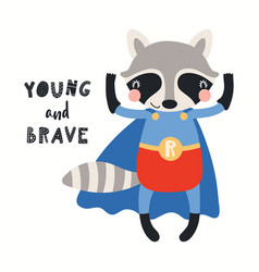 Cute raccoon superhero vector