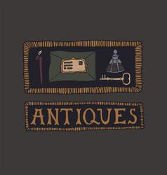 Dark academia concept antiques shop vector