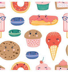 desserts seamless pattern sweets and treats vector image