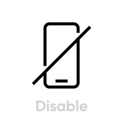 Disable phone icon editable outline vector