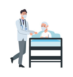 doctor attending old man lying in bed vector image