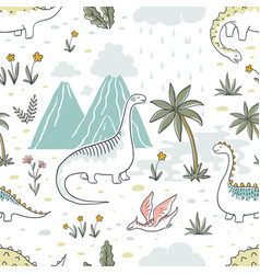 doodle dinosaur pattern seamless textile dragon vector image