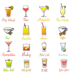 Drinks alcoholic beverage and drinkable vector