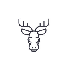 Elk head line icon sign on vector