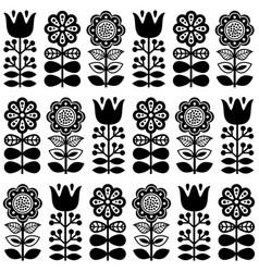 Finnish inspired seamless folk art pattern in blac vector