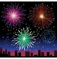 fireworks on night city vector image