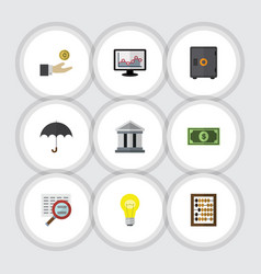 flat icon gain set of bank greenback chart and vector image