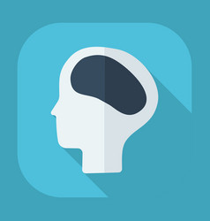 Flat modern design with shadow head brain vector