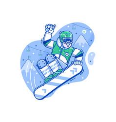 free ride snowboarder scene in line art vector image