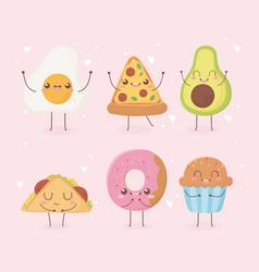 Fried egg pizza avocado donut cupcake taco kawaii vector